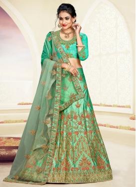 Sea Green Satin Silk Resham Trendy Lehenga Choli