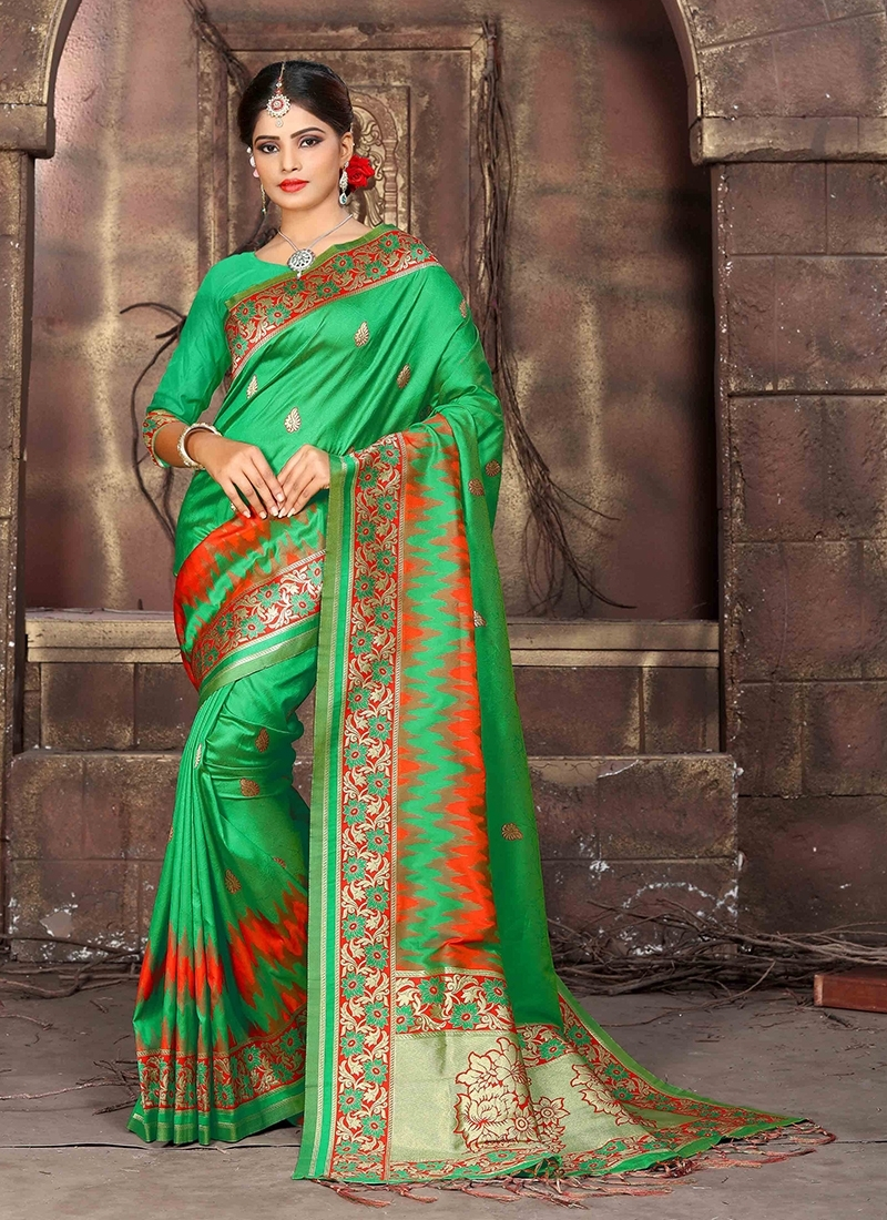 Sea Green Wedding Art Silk Traditional Saree