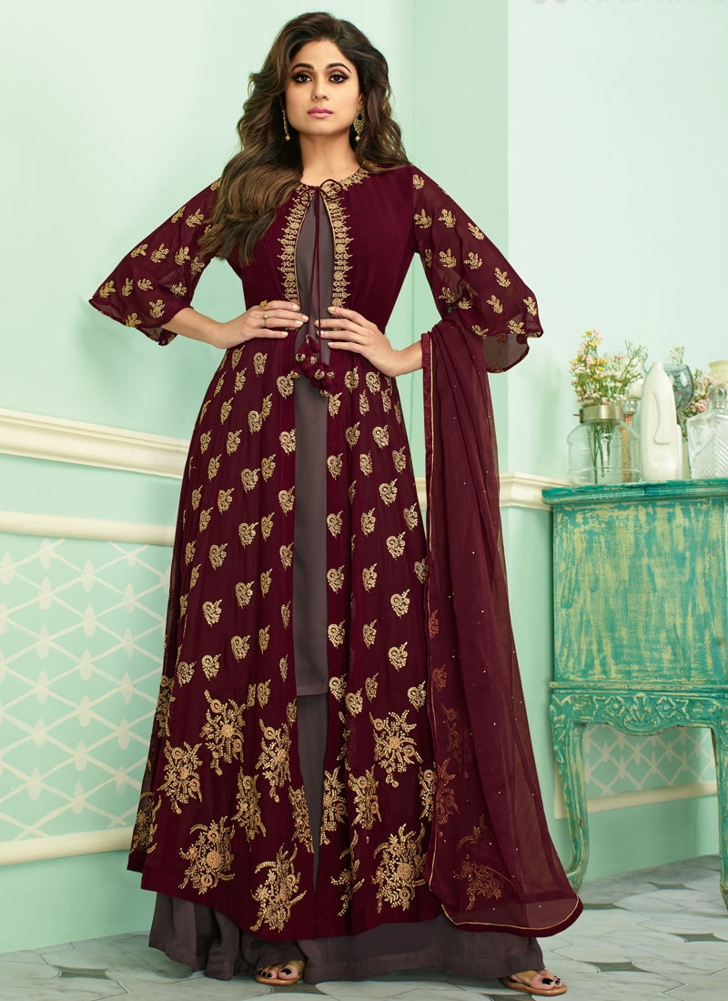 Shamita Shetty Brown and Maroon Embroidered Work Jacket Style Salwar Suit