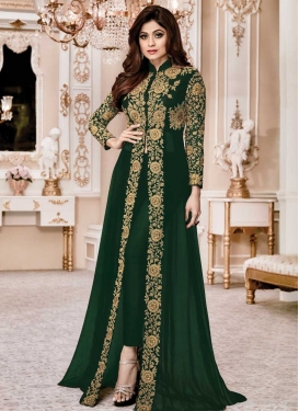 Shamita Shetty Cord Work Pant Style Straight Salwar Kameez