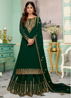 Shamita Shetty Embroidered Work Designer Kameez Style Lehenga
