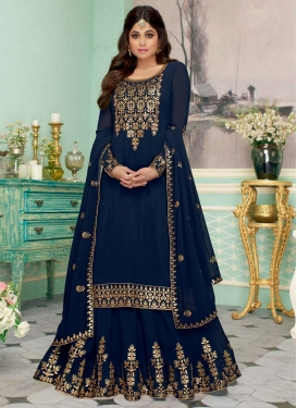 Shamita Shetty Embroidered Work Designer Kameez Style Lehenga Choli