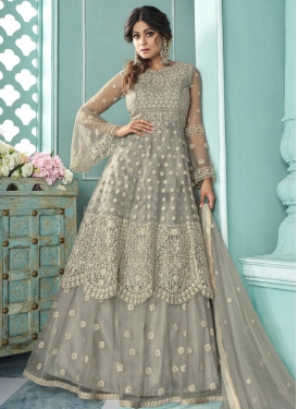 Shamita Shetty Embroidered Work Designer Kameez Style Lehenga Choli