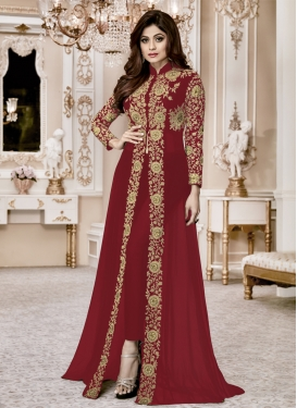 Shamita Shetty Embroidered Work Designer Salwar Kameez