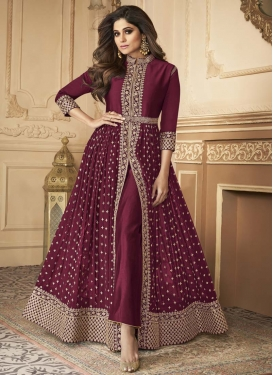 Shamita Shetty Embroidered Work Faux Georgette Floor Length Designer Salwar Suit