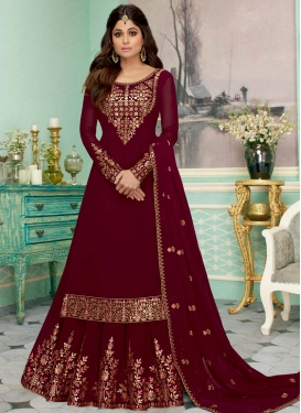 Shamita Shetty Embroidered Work Kameez Style Lehenga Choli