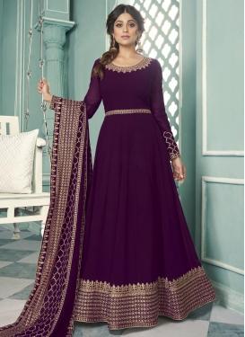 Shamita Shetty Embroidered Work Long Length Anarkali Salwar Suit