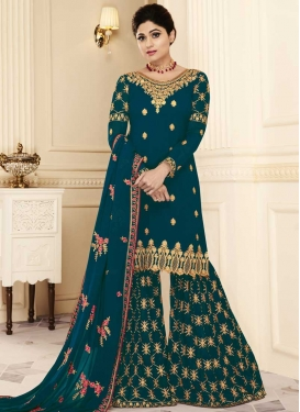 Shamita Shetty Embroidered Work Sharara Salwar Suit