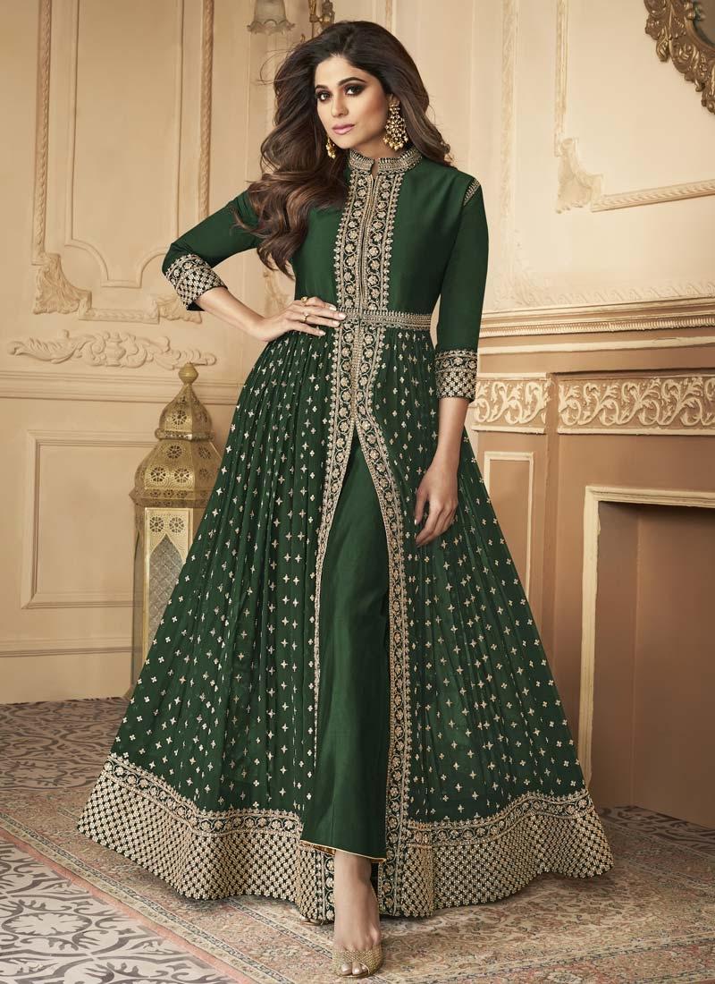 Shamita Shetty Embroidered Work Trendy Designer Salwar Kameez