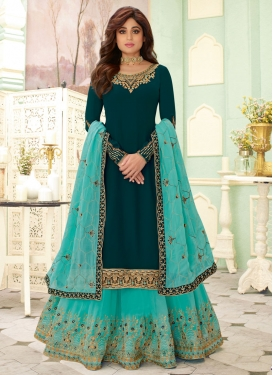 Shamita Shetty Faux Georgette Designer Kameez Style Lehenga