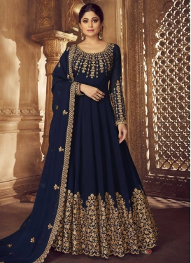Shamita Shetty Faux Georgette Embroidered Work Long Length Designer Anarkali Suit