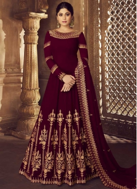 Shamita Shetty Faux Georgette Embroidered Work Trendy Anarkali Salwar Kameez