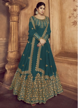 Shamita Shetty Faux Georgette Floor Length Anarkali Salwar Suit For Festival