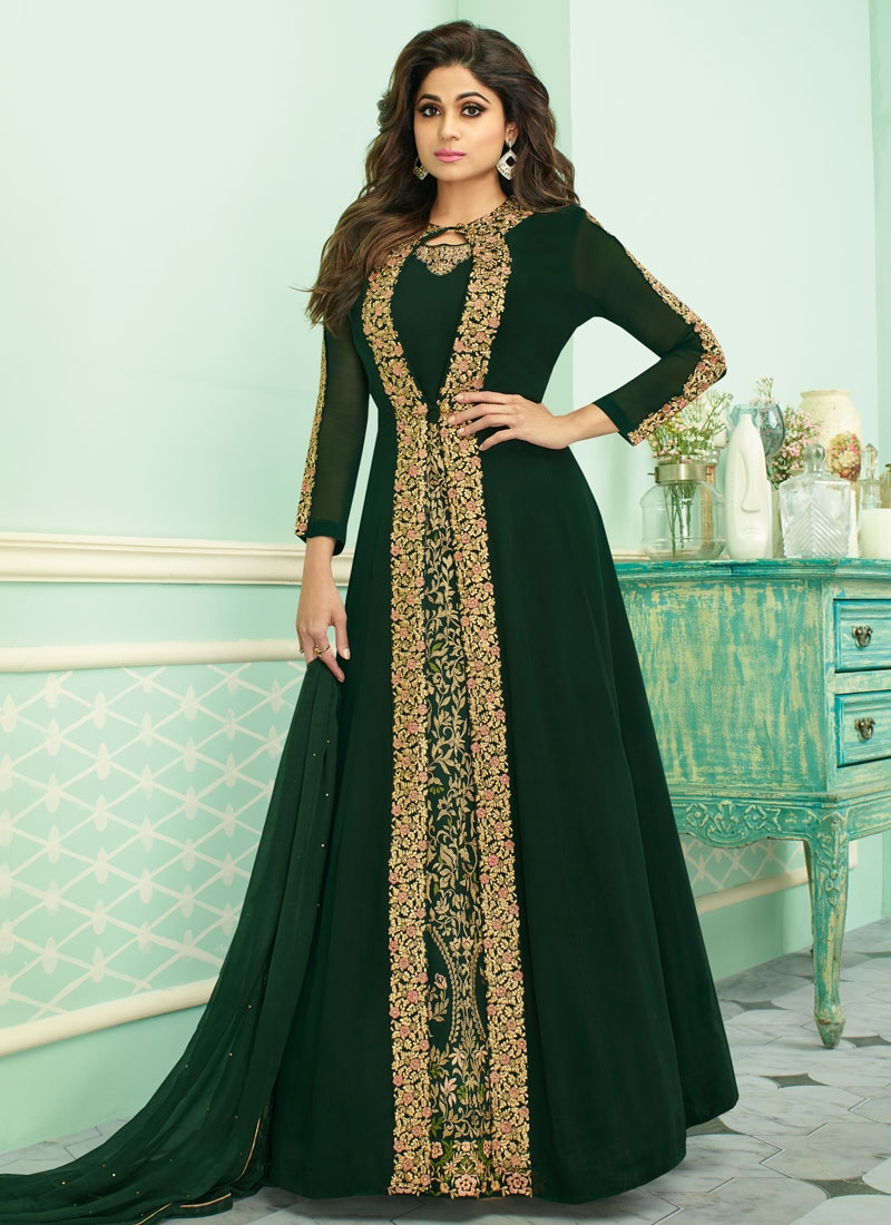 Shamita Shetty Faux Georgette Jacket Style Salwar Kameez For Ceremonial