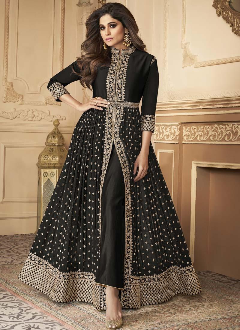 Shamita Shetty Faux Georgette Long Length Designer Suit