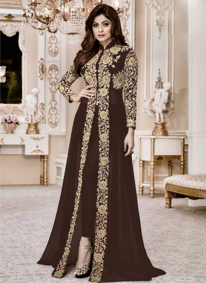 Shamita Shetty Faux Georgette Pant Style Classic Suit