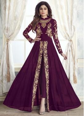 Shamita Shetty Faux Georgette Pant Style Designer Salwar Kameez For Ceremonial