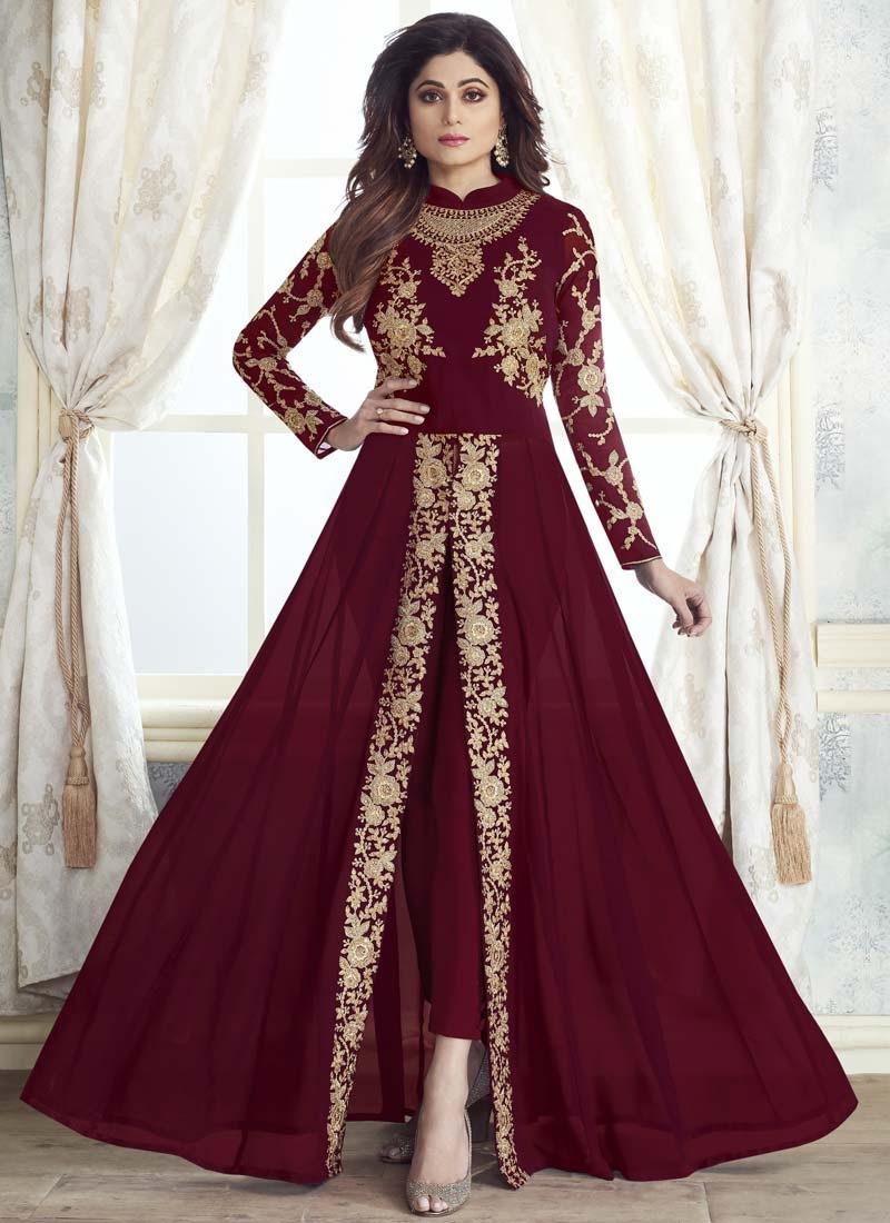 Shamita Shetty Faux Georgette Pant Style Designer Salwar Suit