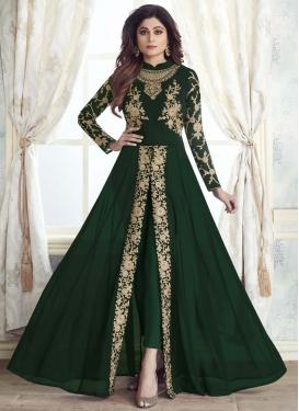 Shamita Shetty Faux Georgette Pant Style Designer Suit