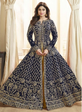 Shamita Shetty Gold and Navy Blue Trendy Designer Salwar Kameez