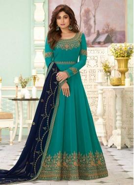 Shamita Shetty Long Length Anarkali Salwar Suit For Festival