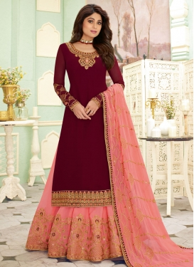 Shamita Shetty Maroon and Salmon Kameez Style Lehenga Choli For Festival