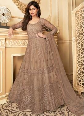 Shamita Shetty Net Embroidered Work Floor Length Anarkali Suit