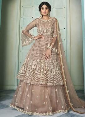 Shamita Shetty Net Embroidered Work Kameez Style Lehenga Choli