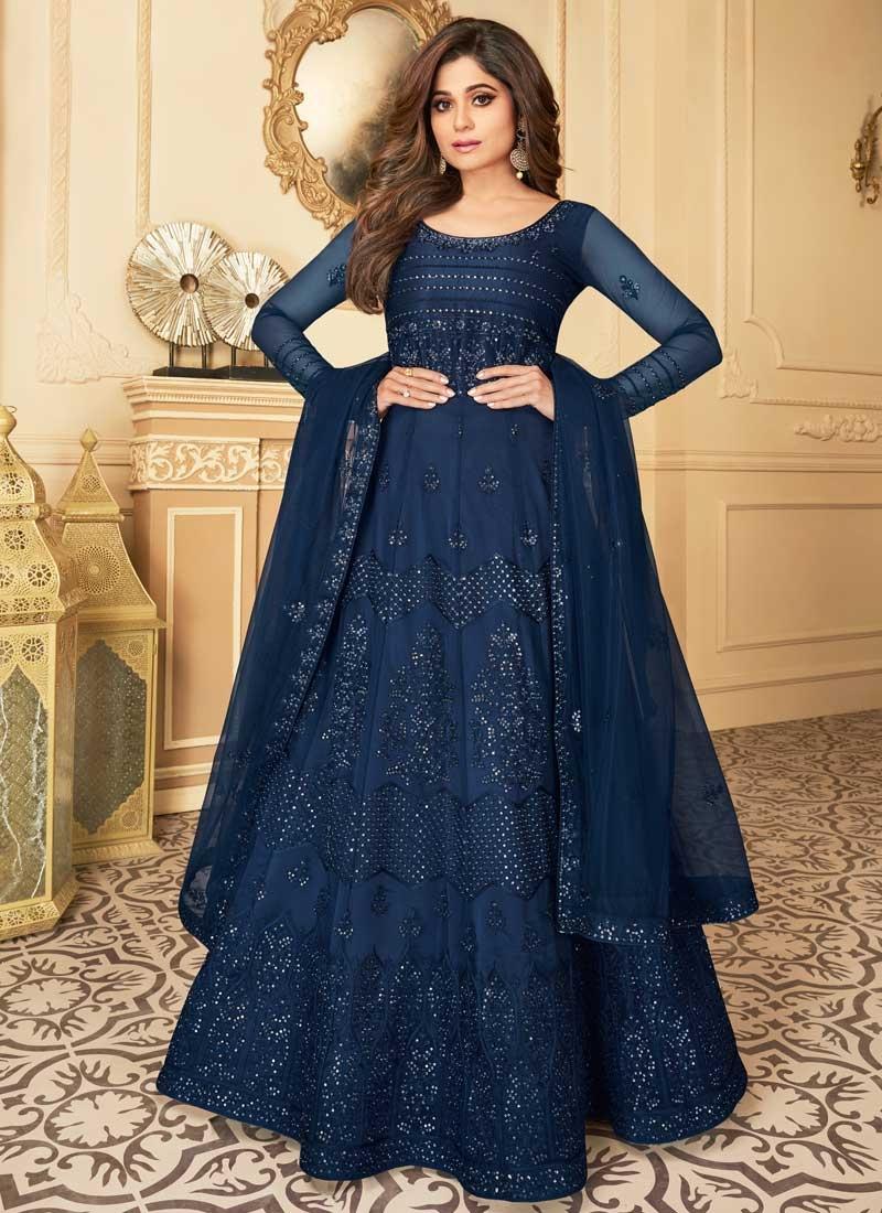 Shamita Shetty Net Floor Length Anarkali Salwar Suit