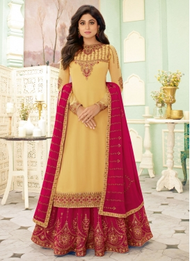Shamita Shetty Rose Pink and Yellow Designer Kameez Style Lehenga Choli
