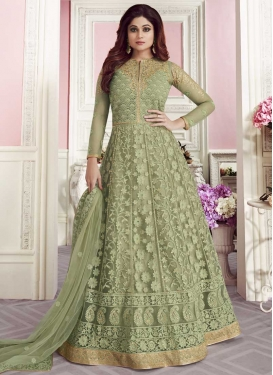 Shamita Shetty Trendy Anarkali Salwar Kameez For Festival