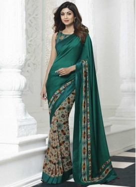 Shilpa Shetty Beige and Teal Digital Print Work Half N Half Trendy Saree