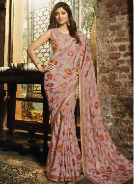 Shilpa Shetty Embroidered Work Designer Contemporary Style Saree