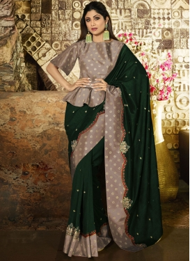 Shilpa Shetty Embroidered Work Traditional Designer Saree