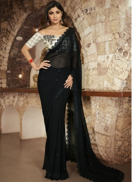 Shilpa Shetty Embroidered Work Trendy Saree