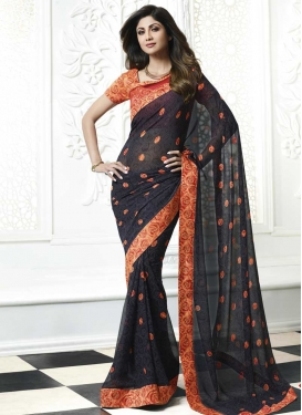 Shilpa Shetty Faux Georgette Traditional Saree For Ceremonial