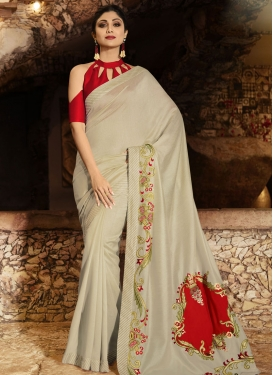 Shilpa Shetty Grey and Red Embroidered Work Contemporary Saree