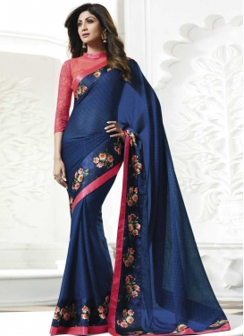 Shilpa Shetty Hot Pink and Navy Blue Traditional Designer Saree For Ceremonial