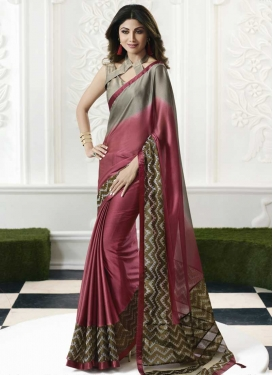 Shilpa Shetty Lace Work Contemporary Style Saree