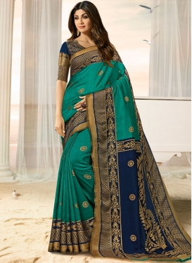 Shilpa Shetty Sea Green Art Silk Designer Traditional Saree