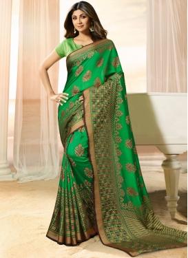 Shilpa Shetty Weaving Green Designer Traditional Saree