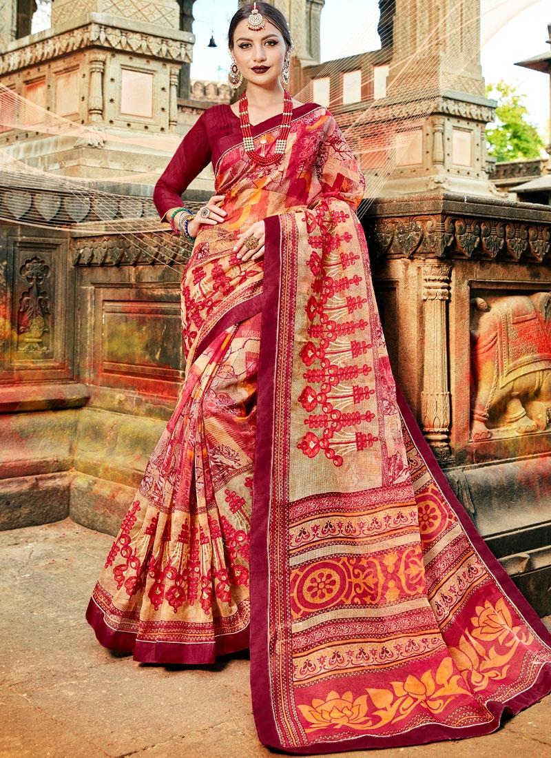 Sightly Multi Colour Net Printed Saree