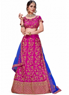 Sightly Thread Work Magenta Satin Silk Trendy Lehenga Choli