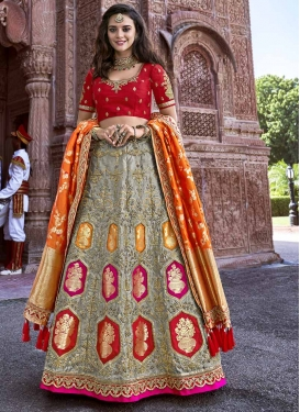 Silk Beads Work A - Line Lehenga