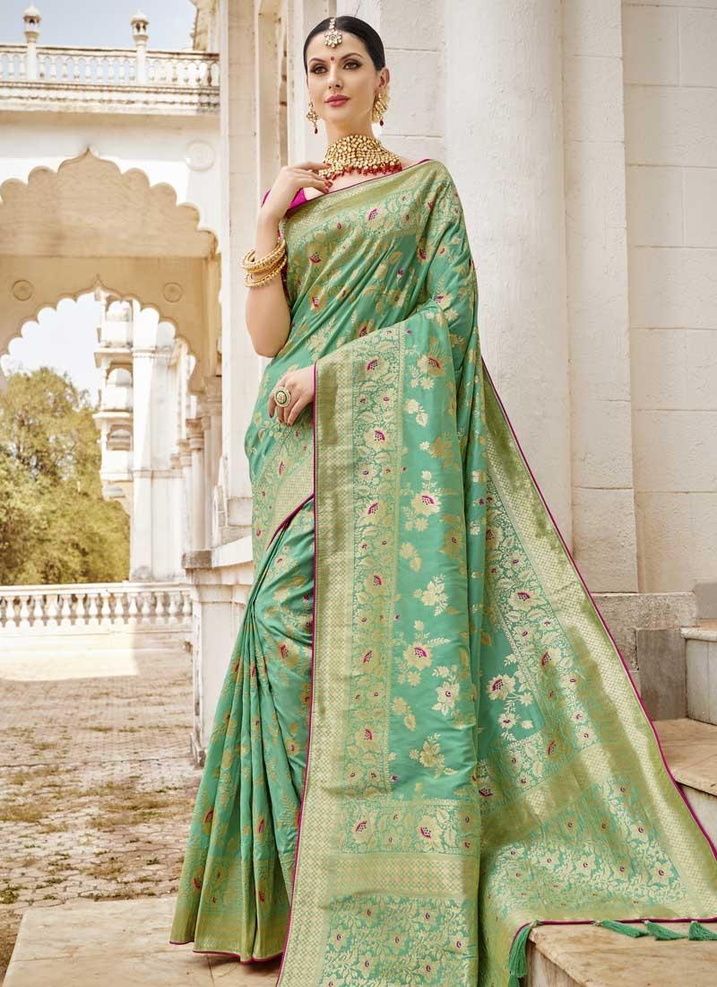 Silk Beads Work Contemporary Style Saree