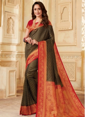 Silk Black and Red Designer Traditional Saree
