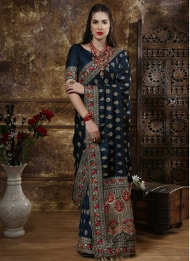 Silk Contemporary Style Saree For Bridal