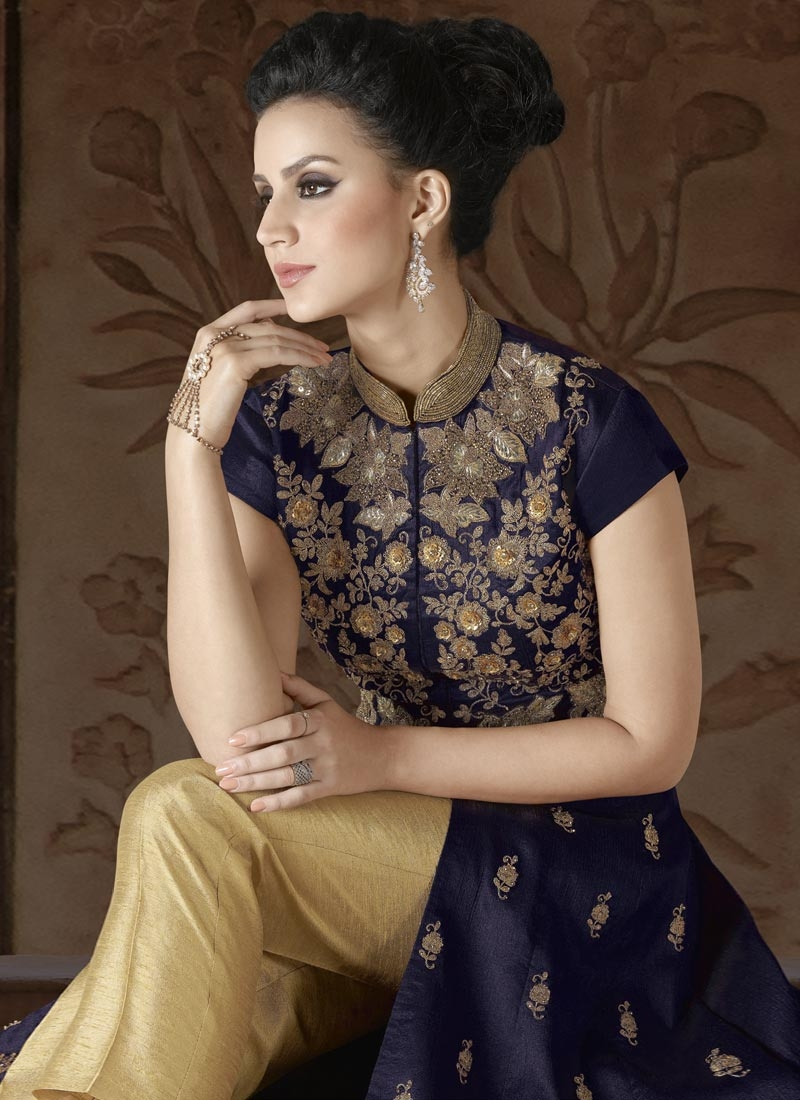 Silk Cream and Navy Blue Beads Work Pant Style Classic Suit