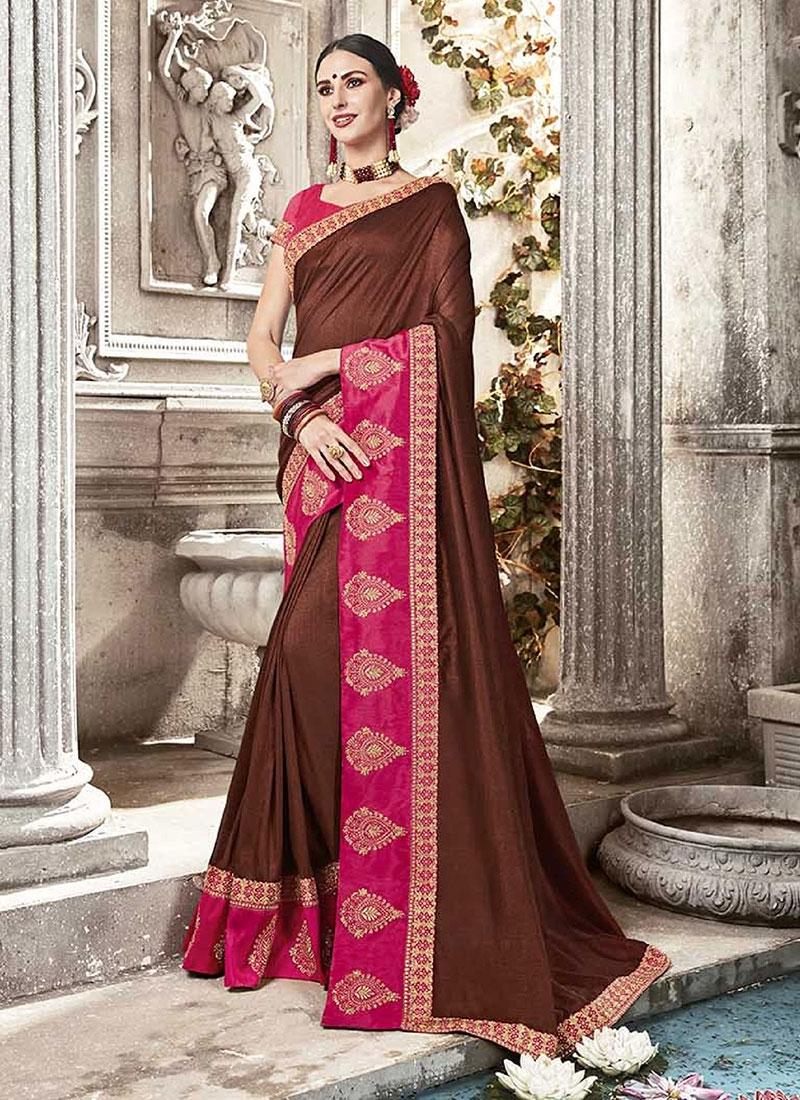Silk Embroidered Designer Saree in Rose Pink