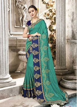 Silk Embroidered Sea Green And Navy Blue Trendy Saree